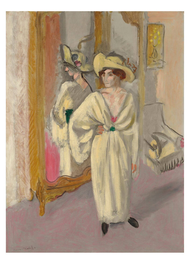 Woman In White Standing In Front of a Mirror-Meri Deewar