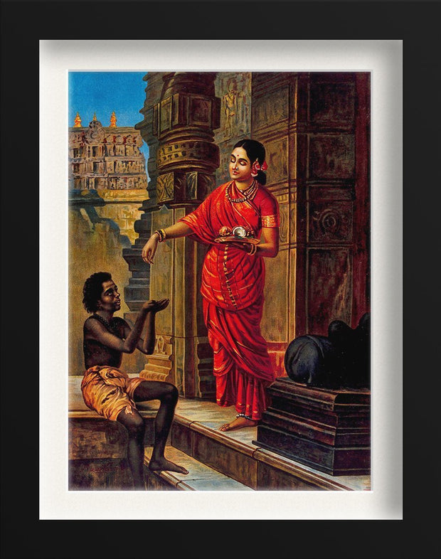 A woman giving alms to a beggar outside a temple to Lord Shiva