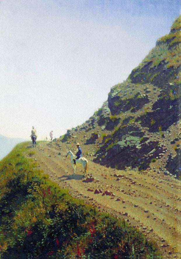 nomadic road in the mountains of ala tau Painting - Meri Deewar