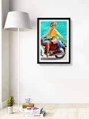 Lady on a bike Vintage poster