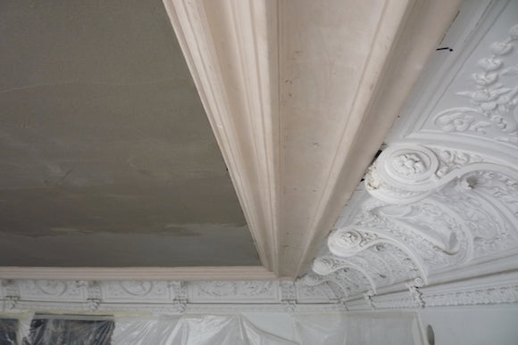 Following The Replastering Of Ceiling We Reinstated Perimeter Cornice Detail As Well All Decorative Panel Mouldings And