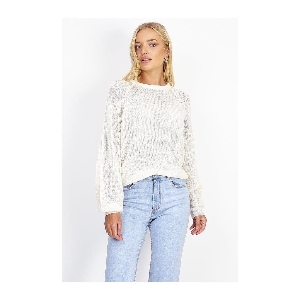 Image of   Balloon sleeve Knit - White - L
