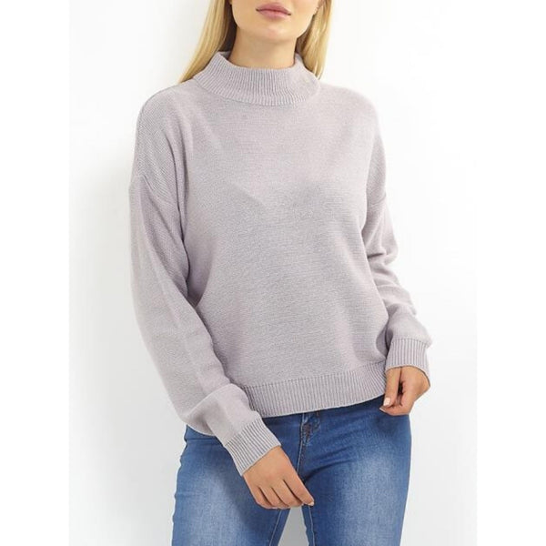 MARTA DU CHATEAU Brave Soul Ribbed High Neck Knit Knit Grey