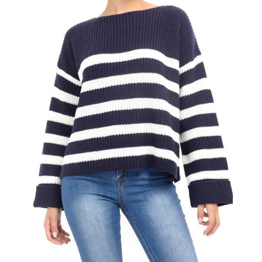 Image of   Brave Soul Stribet Pullover Marina - Navy