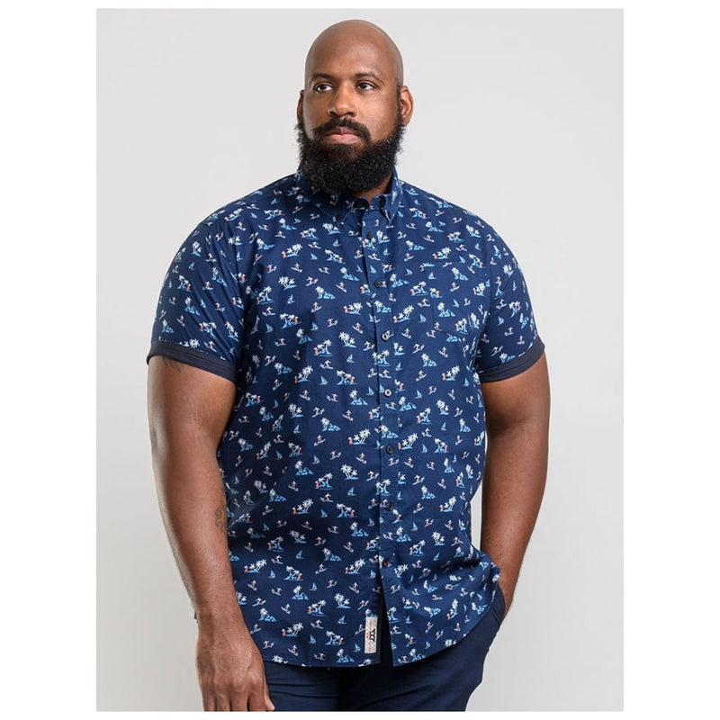 Duke Clothing D555 Herre Kortærmet Skjorte Davian Plus SS Shirt Navy