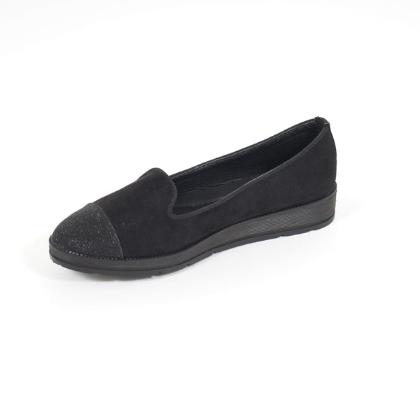 Tex-Time Dame Ballerina Med Sten På Snuden Shoes Black