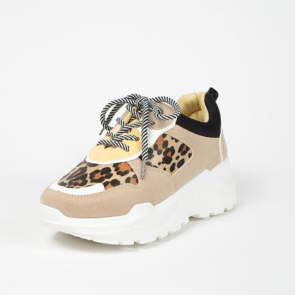 Tex-Time Dame Sneakers Chunky Shoes Leopard