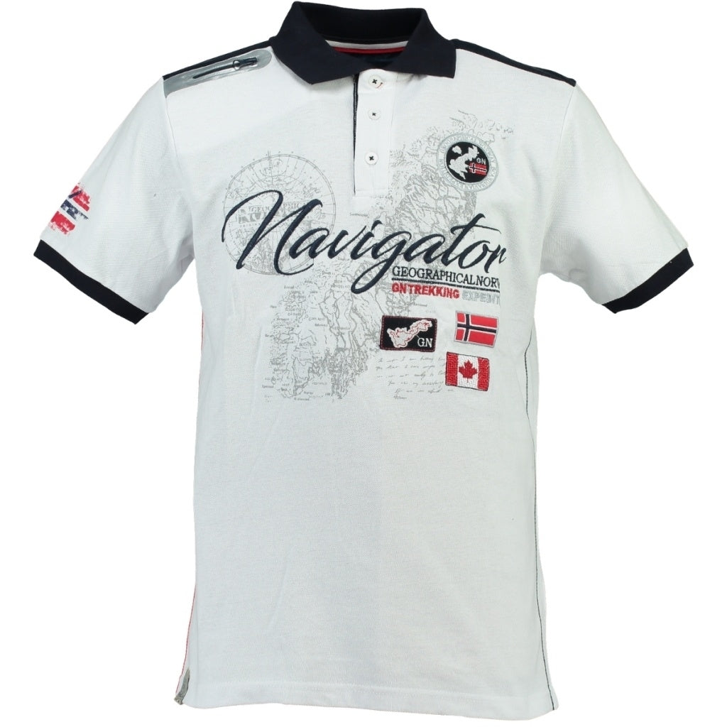 GEOGRAPHICAL NORWAY POLO Herre KRIMINEL - White