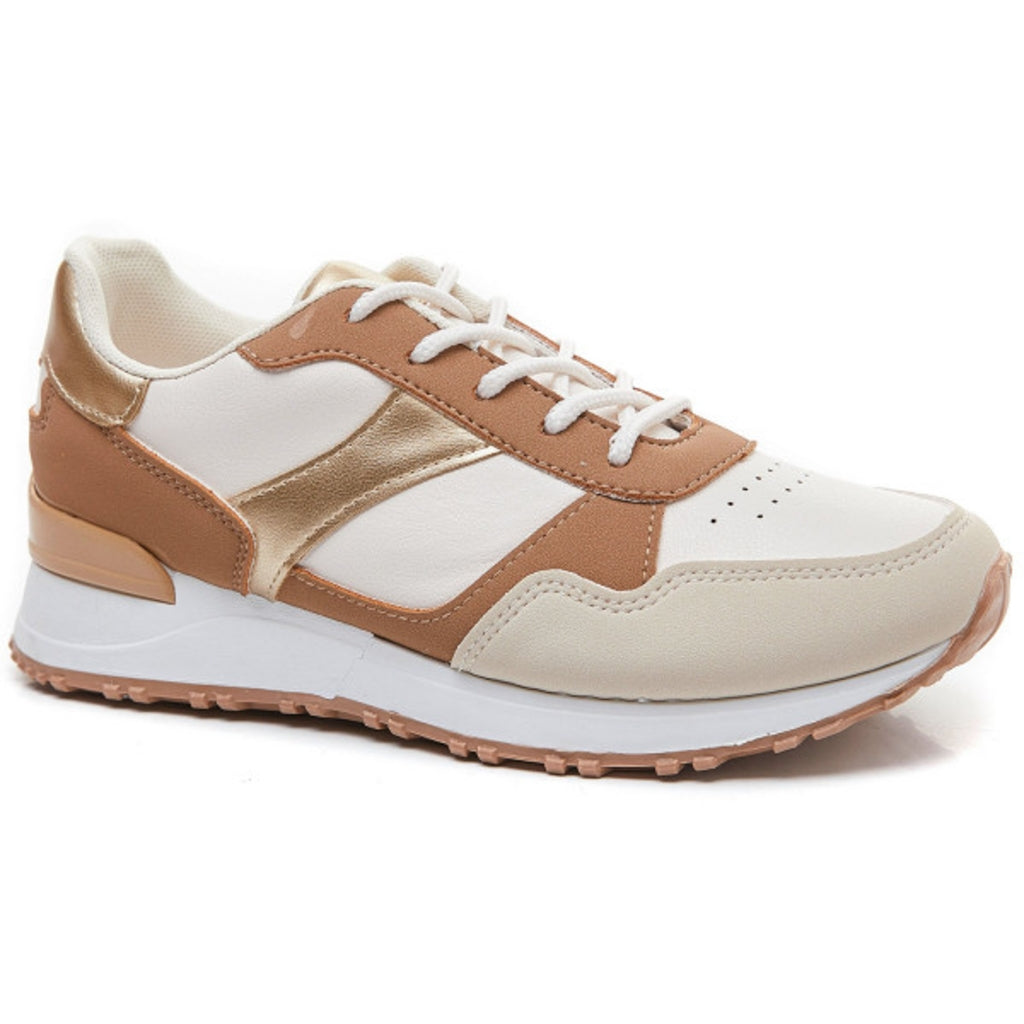 Ideal Shoes Dame Sneakers 6157 - Khaki