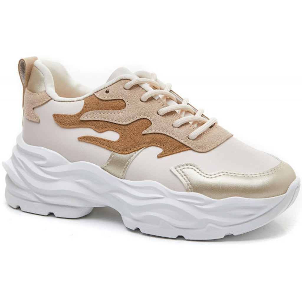 Ideal Shoes Dame Sneakers 6158 - Beige