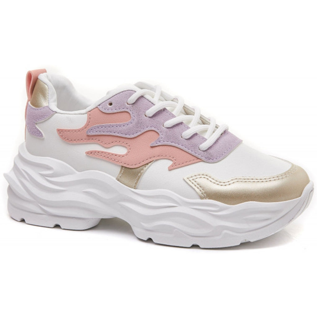 Ideal Shoes Dame Sneakers 6158 - White