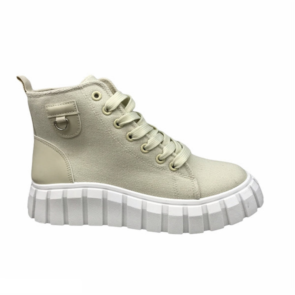 Ideal Shoes Dame Sneakers 7882 - Beige