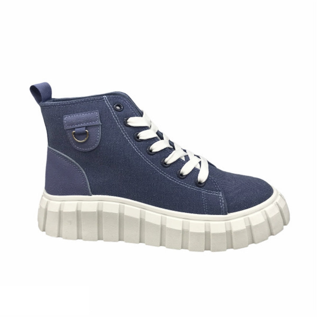 Ideal Shoes Dame Sneakers 7882 - Jeans Blue