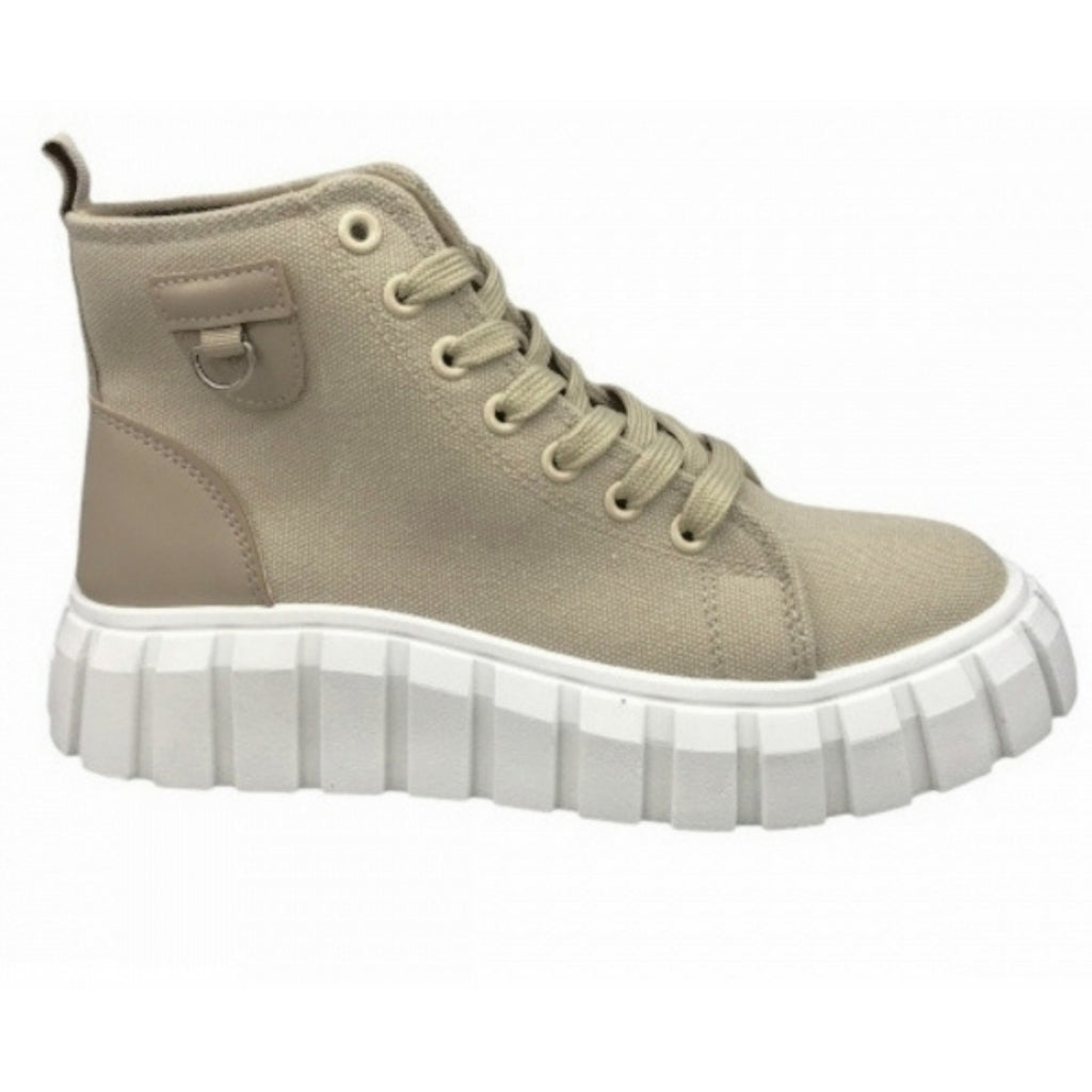 Ideal Shoes Dame Sneakers 7882 - Khaki