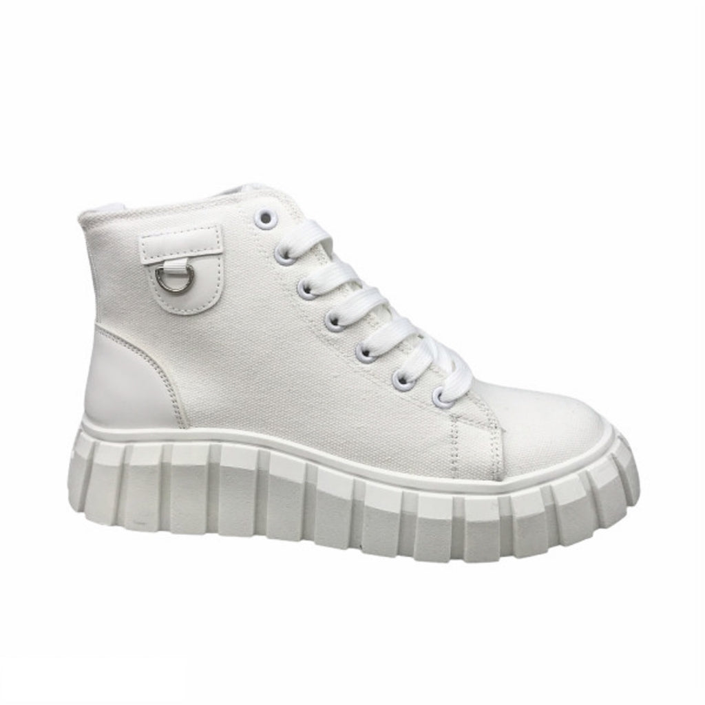 Ideal Shoes Dame Sneakers 7882 - White