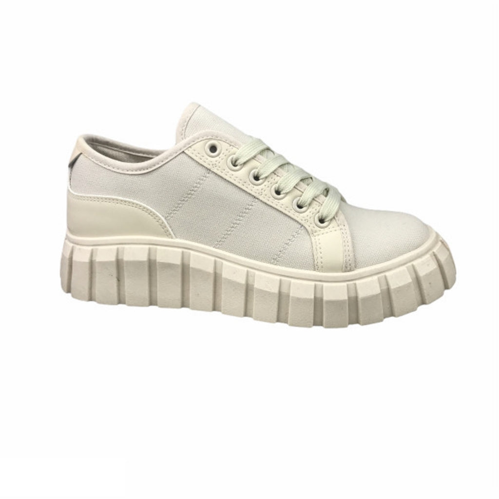 Ideal Shoes Dame Sneakers 7885 - Beige