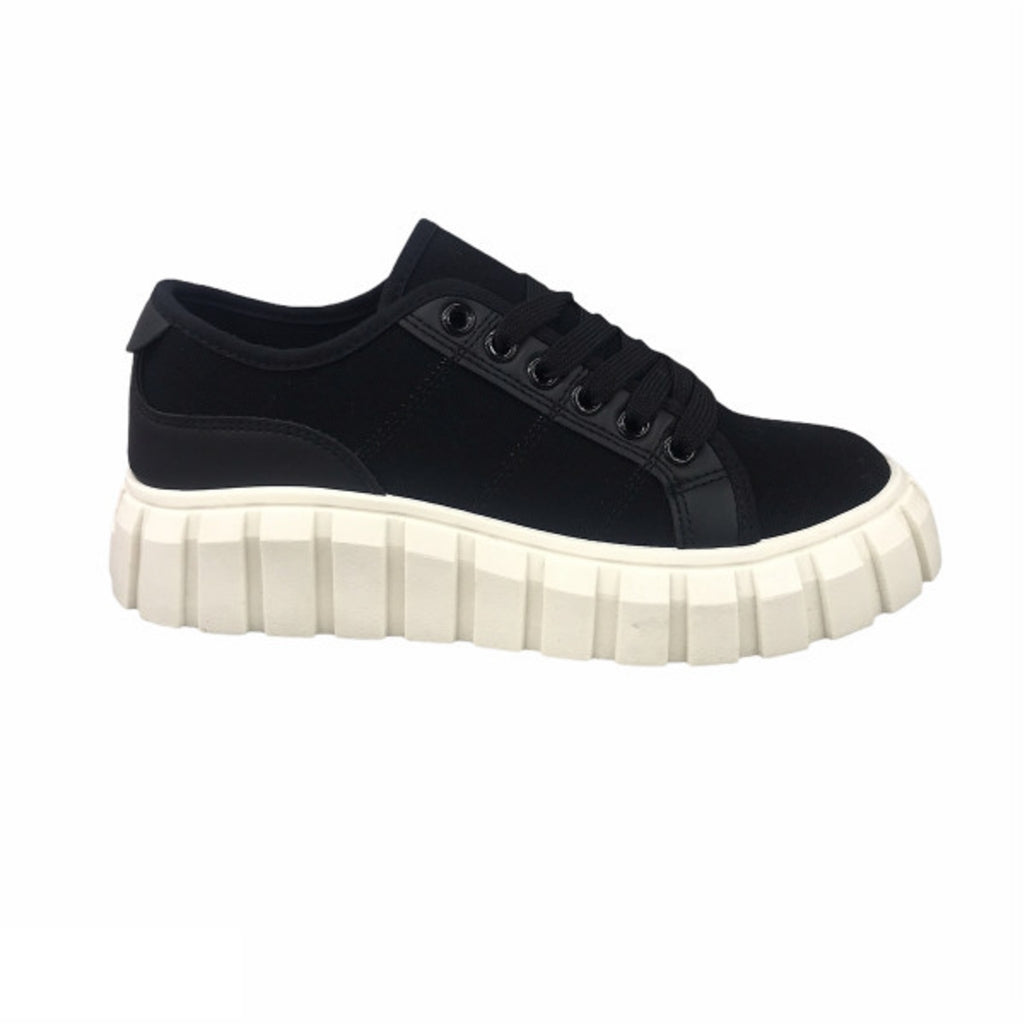 Ideal Shoes Dame Sneakers 7885 - Black