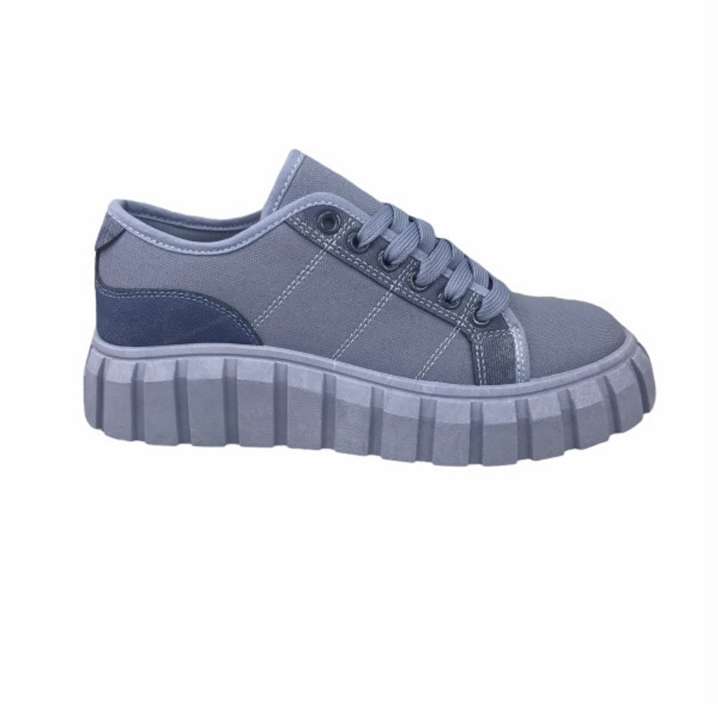 Ideal Shoes Dame Sneakers 7885 - Jeans Blue