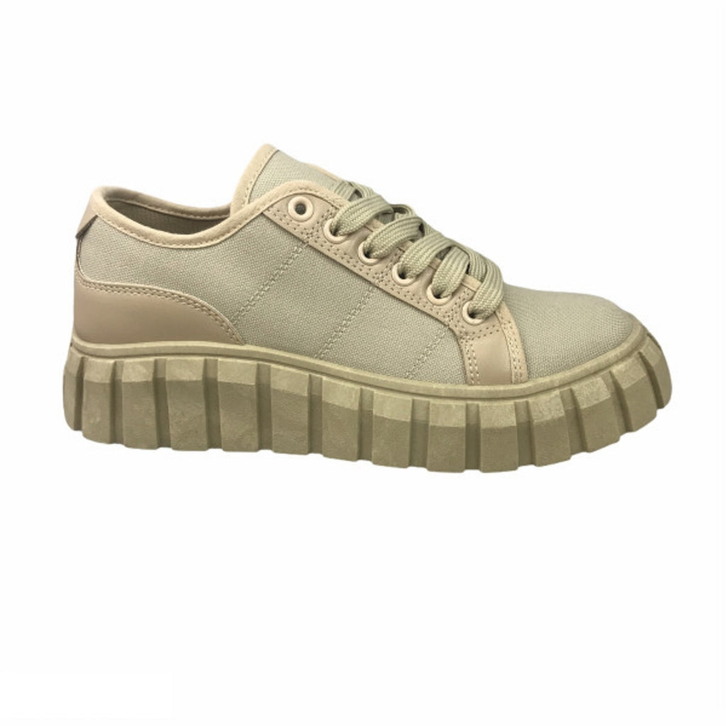 Ideal Shoes Dame Sneakers 7885 - Khaki