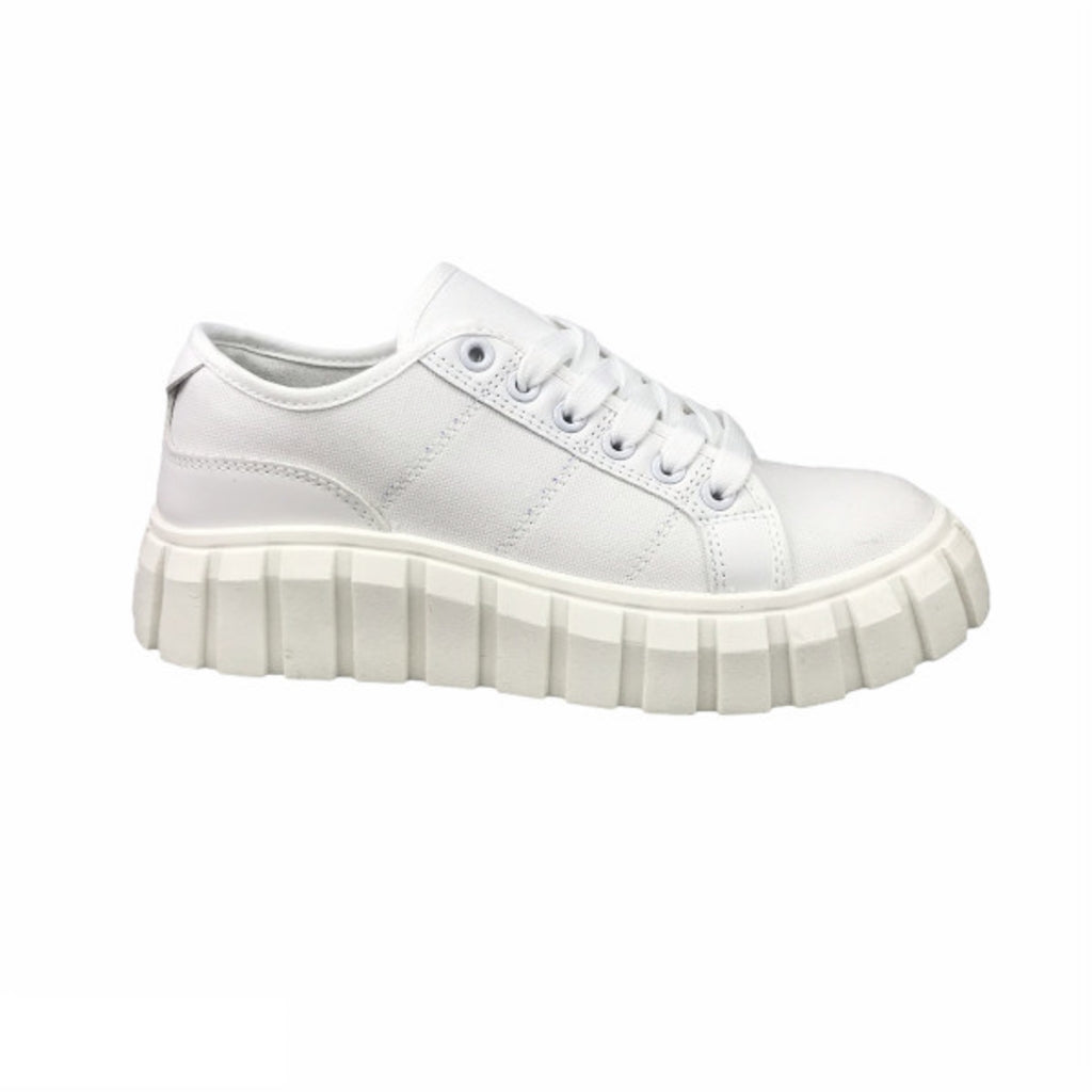 Ideal Shoes Dame Sneakers 7885 - White