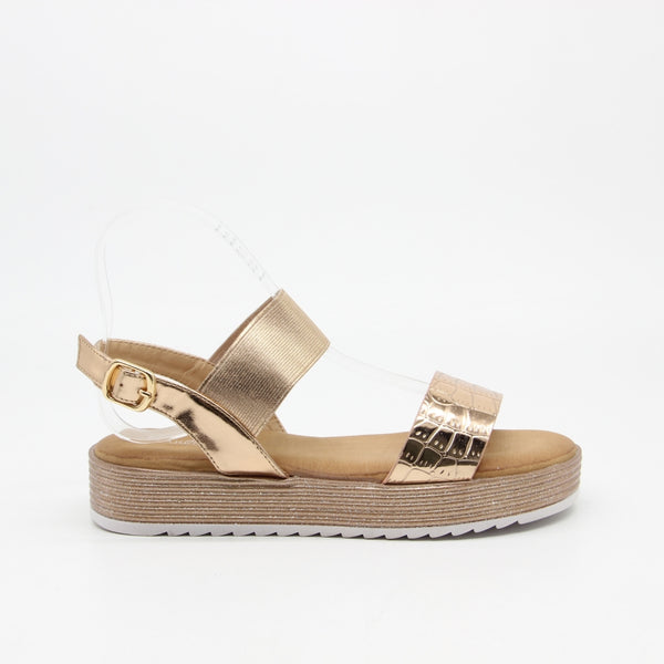 Shoes Ideal shoes dame sandaler 8826 Shoes Champagne