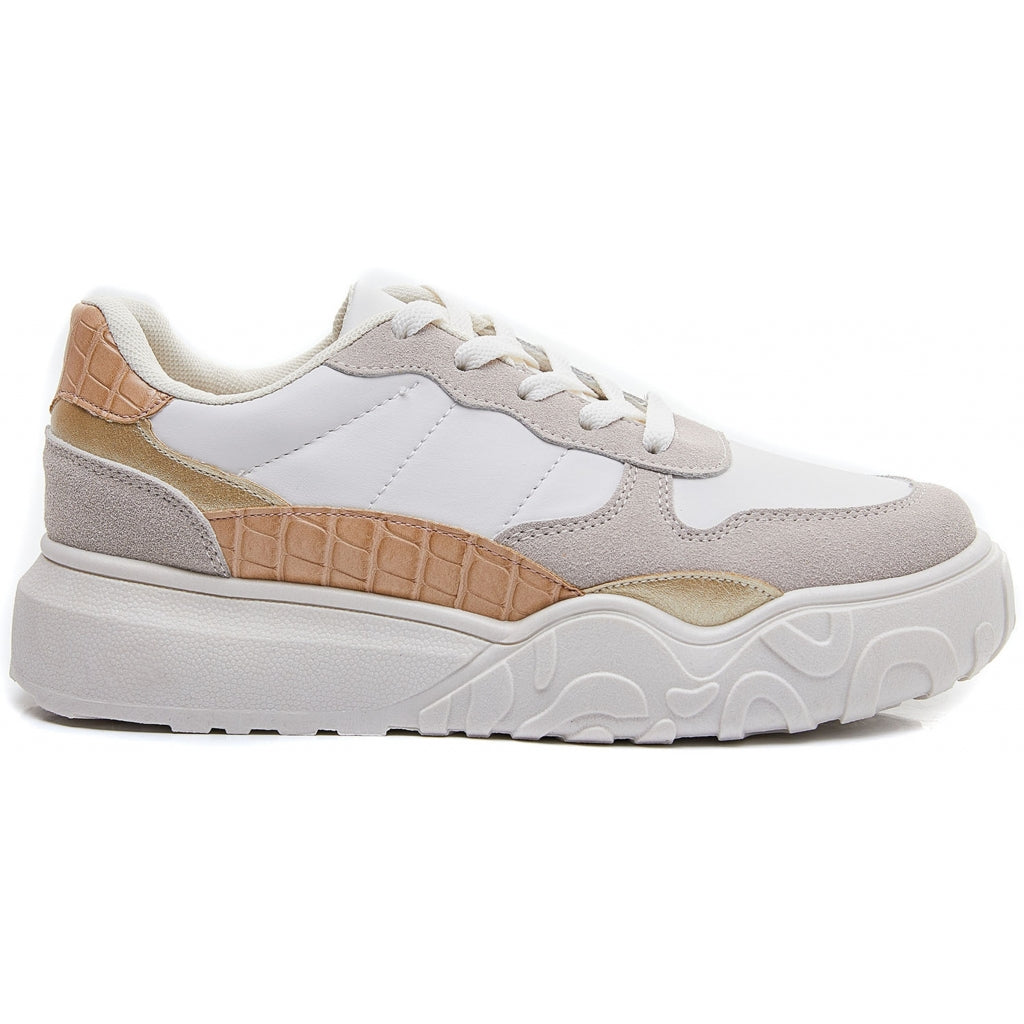 Ideal shoes dame sneakers 6135 - Beige
