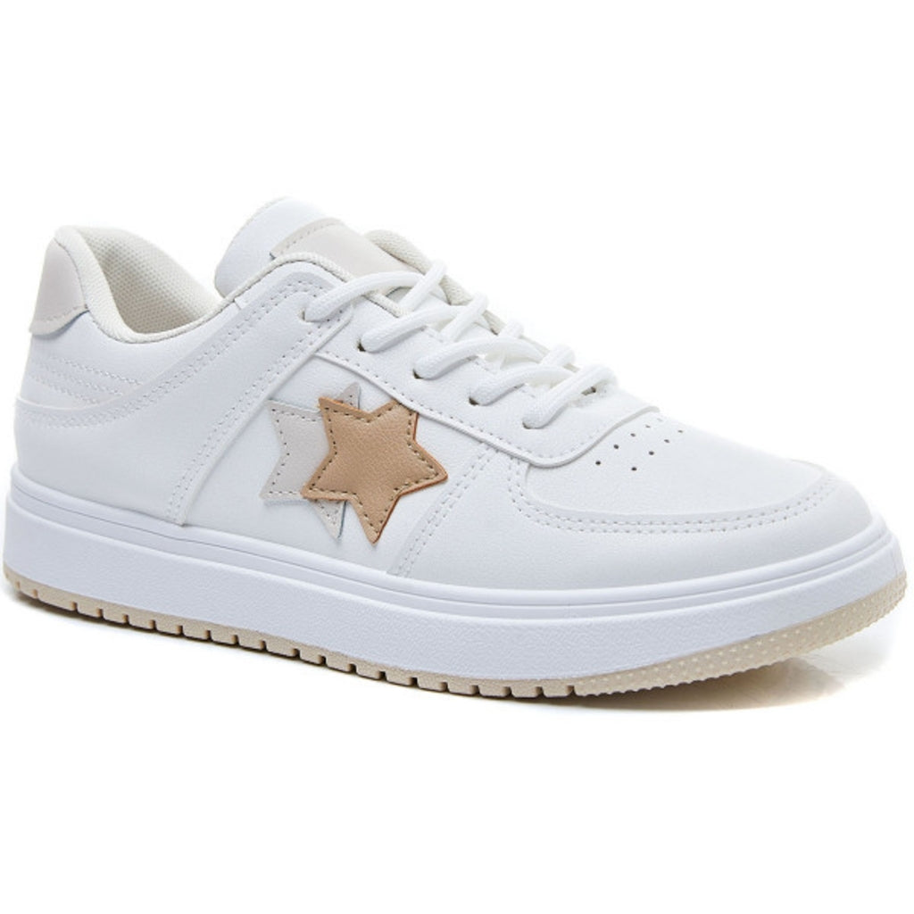 Ideal shoes dame sneakers 6138 - Beige