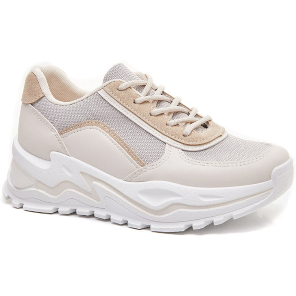 Ideal shoes dame sneakers 6160 - Beige