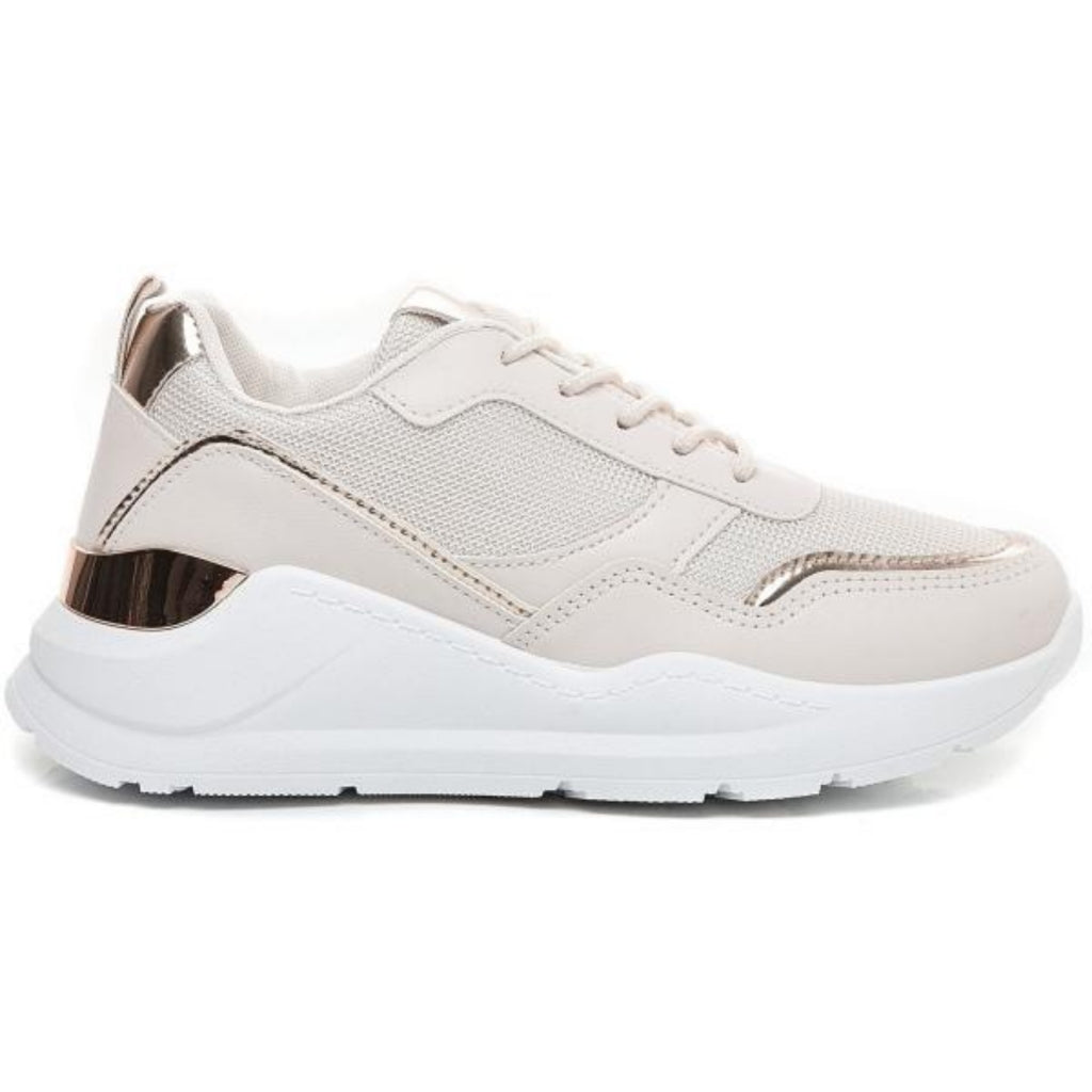 Ideal shoes dame sneakers 9930 - Beige