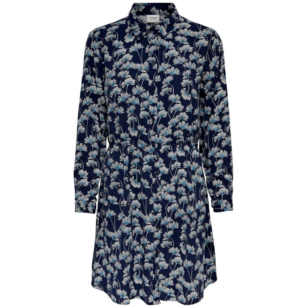 Image of   JDY Claire Shirt Dress - Navy Blazer Blue Flowers - 34