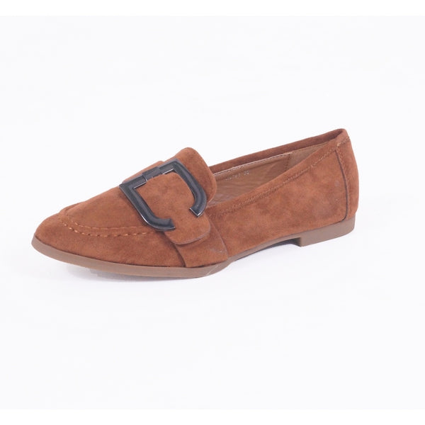 Tex-Time Ladies Ballerina Spænde Shoes Camel