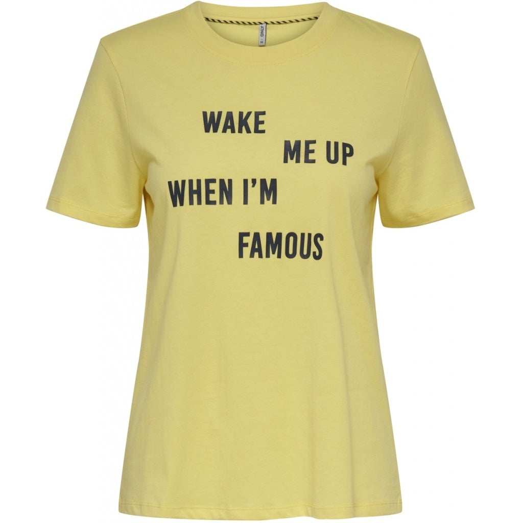 Image of   ONLY Ava Text Print Top - Yellow - L