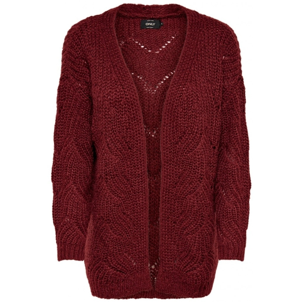 Image of   ONLY Havana Long Cardigan - Merlot - L