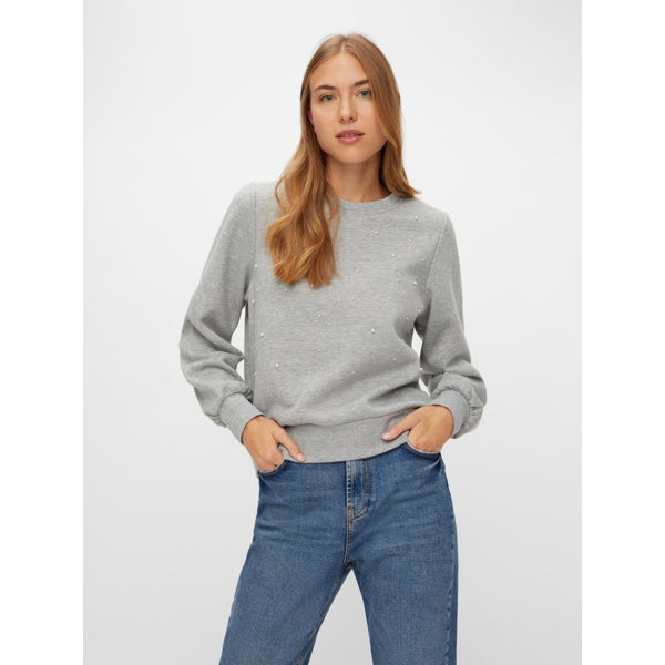 PIECES PIECES dame sweatshirt PCDIBBA Sweatshirt Light grey melange