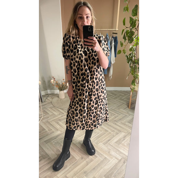 PIECES Pieces dame kjole PCGURLA Dress Black leopard