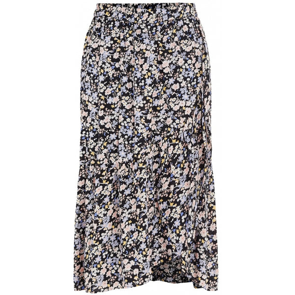 PIECES Pieces dame nederdel PCMUUNA Skirt Black Multi flower