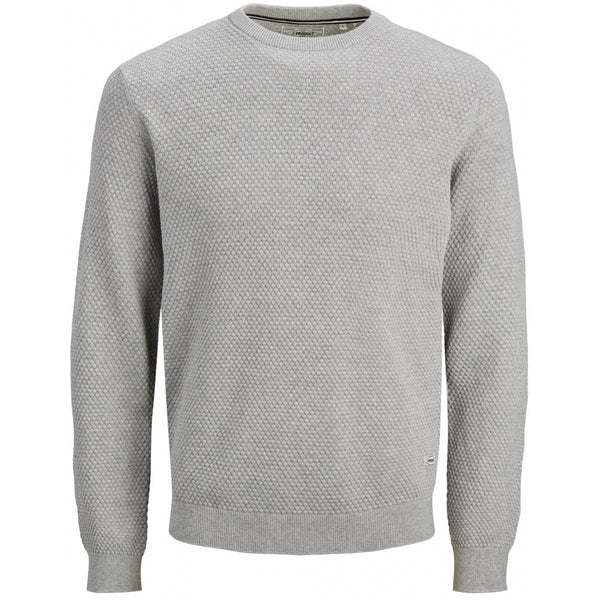 PRODUKT Produkt here striktrøje PKTORI Knit Light grey melange