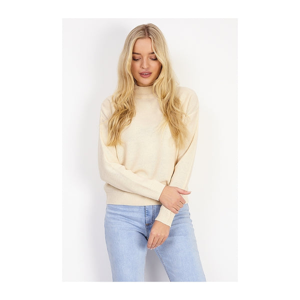 MARTA DU CHATEAU Ribbed High Neck Knit Knit Stone
