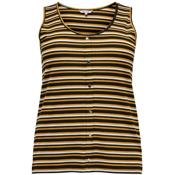 ONLY Carmakoma CARMAKOMA Diona SL Top Stripe PLUSSIZE Top Black/Yellow