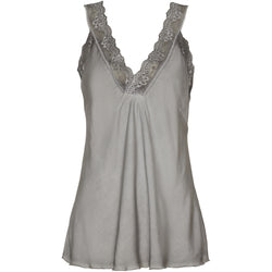 MARTA DU CHATEAU Top med blondekant T-Shirt/top D.Grey