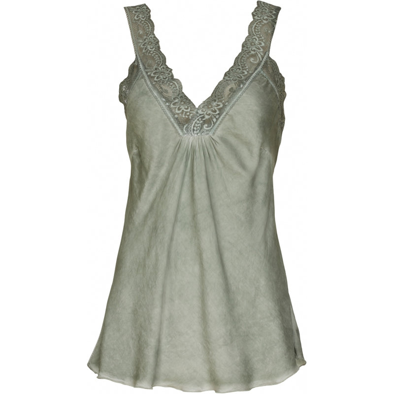 MARTA DU CHATEAU Top med blondekant T-Shirt/top Militairy