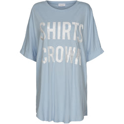 MARTA DU CHATEAU T-shirt med sølv-skrift T-Shirt/top Light blue