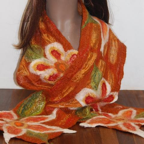 Nuno Felt Silk Wrap - Flower Detail (Burnt Orange)