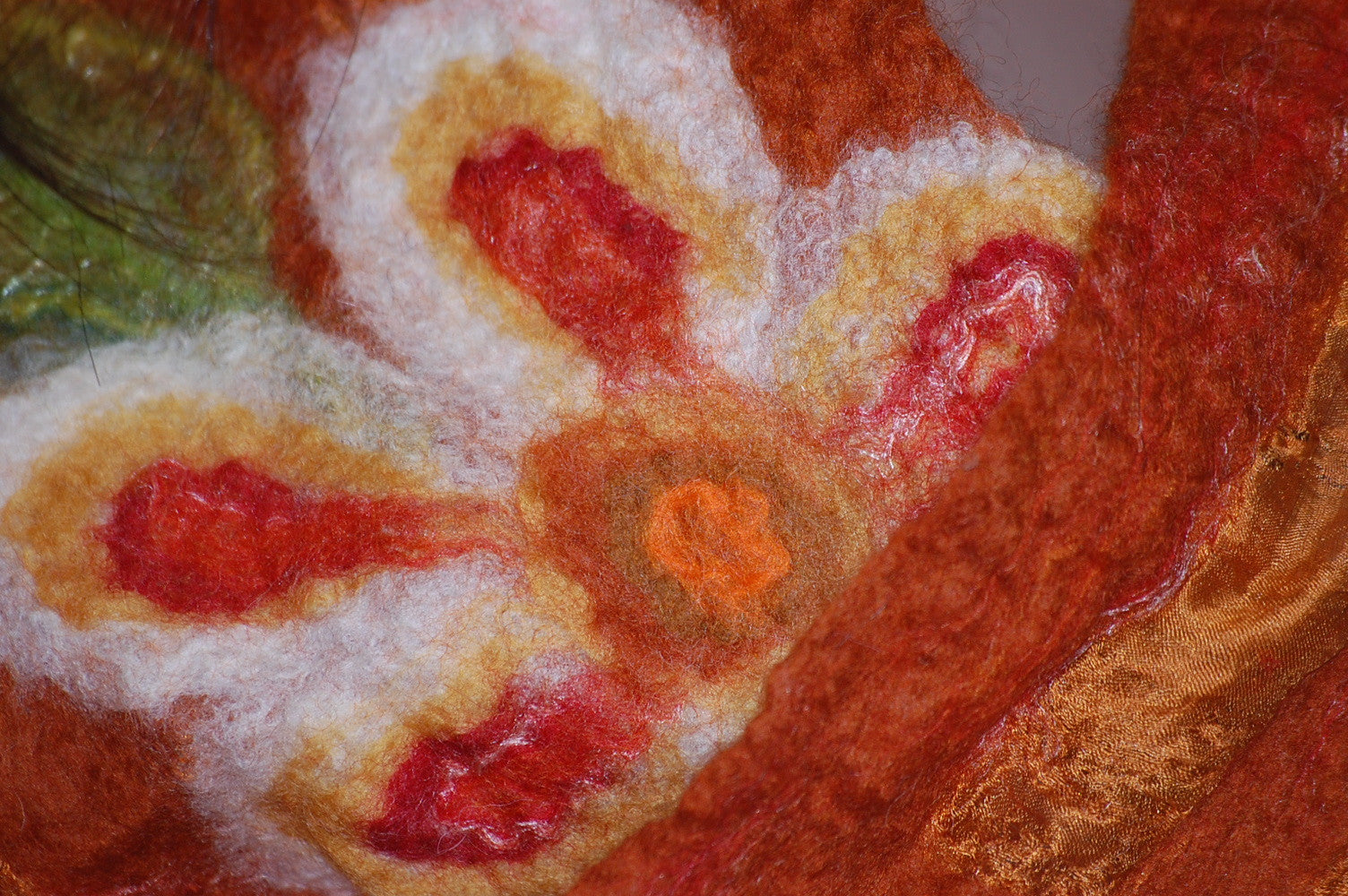 Nuno Felt Silk Scarf - Flower Detail (Burnt Orange)