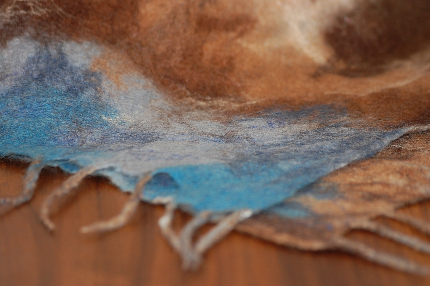 Large Felt Silk Scarf - Blue, Brown & Cream