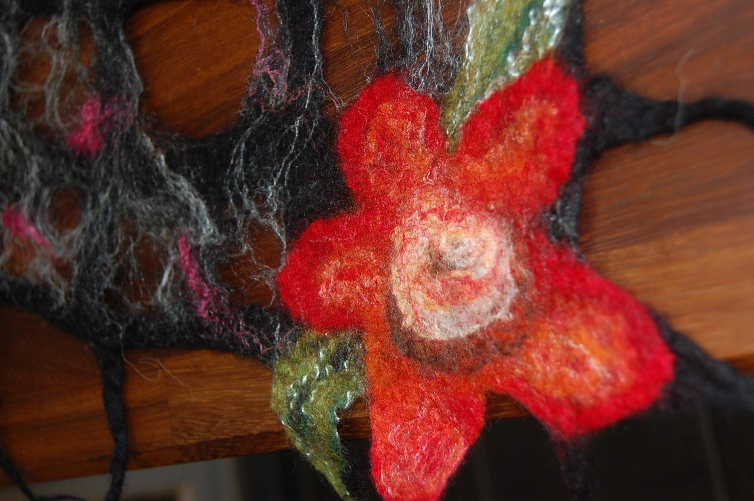 Lattice Felted Scarf with Flower Design