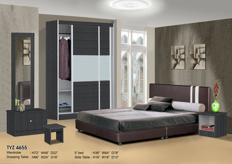 Bedroom Set with 6x4ft Wardrobe, Bed, Dresser, Side Table ...