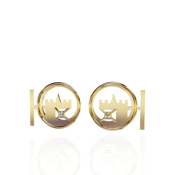 Yellow Gold Vermeil Cufflinks with White Topaz