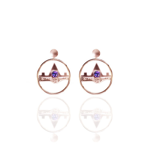 Small Yellow Gold Vermeil Drop Earrings with Amethyst