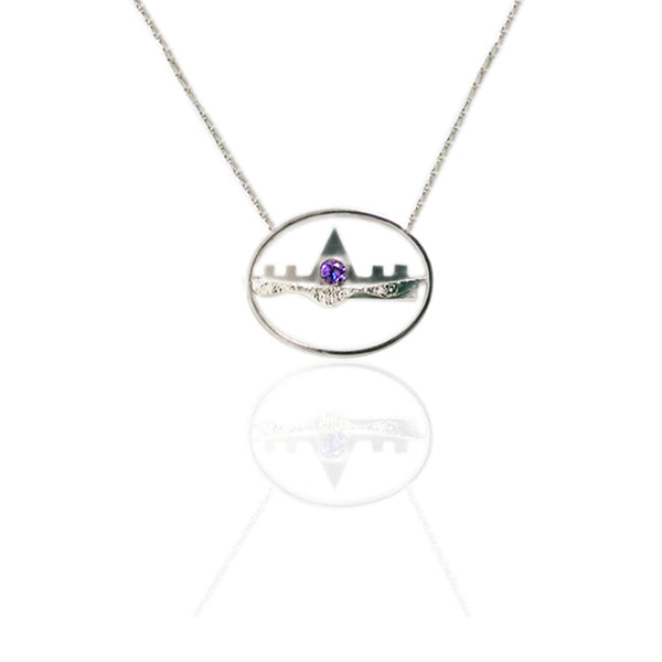 Sterling Silver Horizontal Necklace with Amethyst